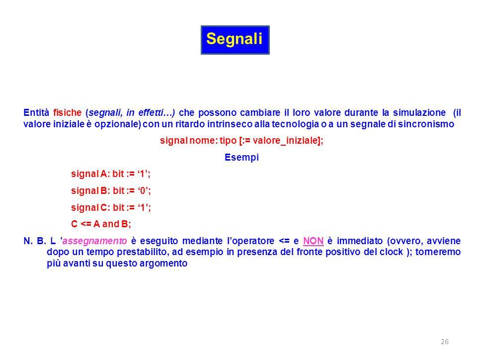 signal nome: tipo [:= valore_iniziale];